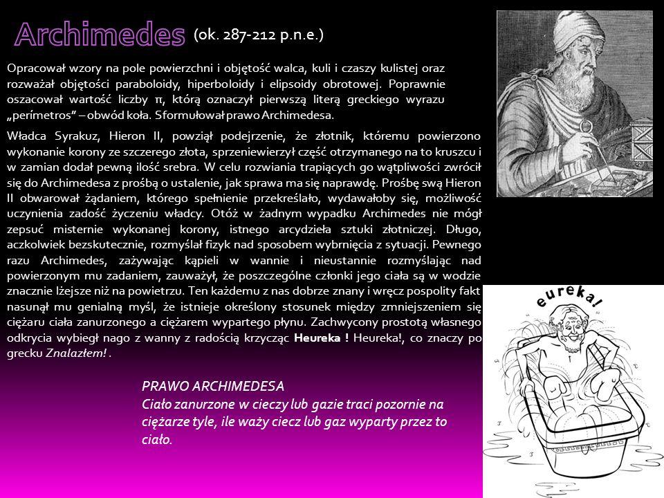 Archimedes (ok. 287-212 p.n.e.) PRAWO ARCHIMEDESA