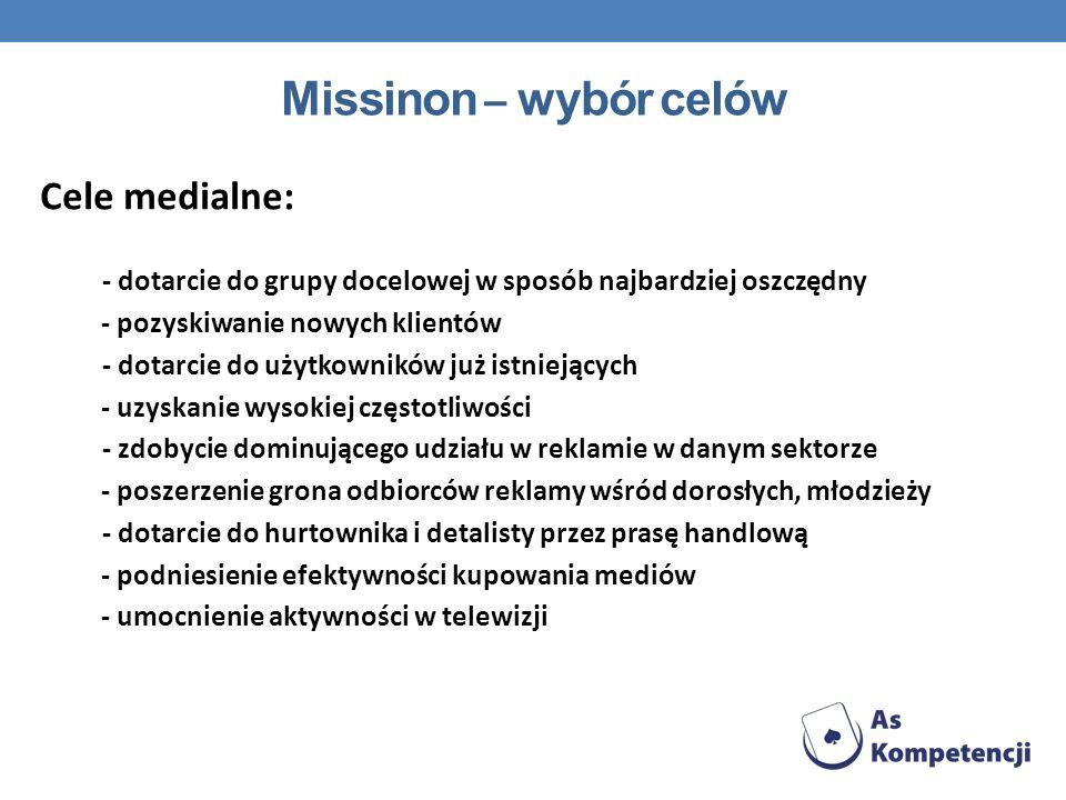 Missinon – wybór celów Cele medialne: