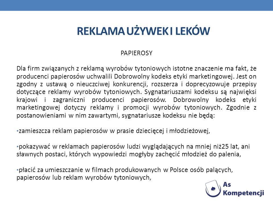 Reklama używek i leków PAPIEROSY
