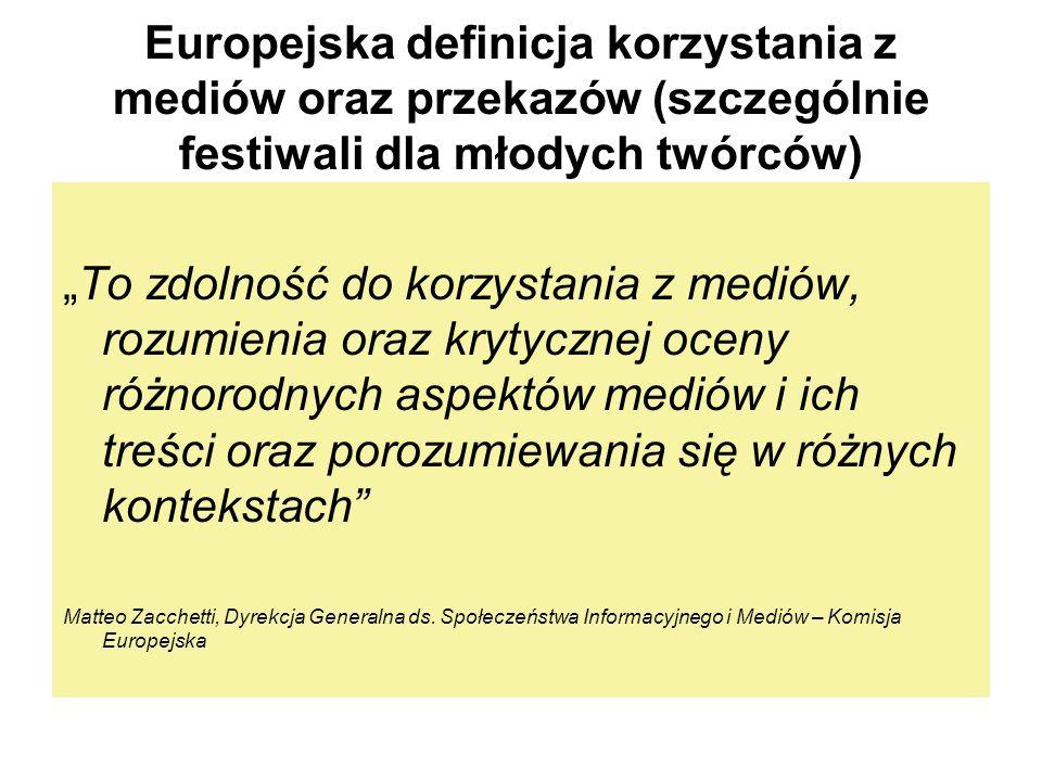 Europejska definicja korzystania z mediów oraz przekazów (szczególnie festiwali dla młodych twórców)