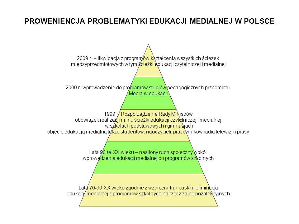 PROWENIENCJA PROBLEMATYKI EDUKACJI MEDIALNEJ W POLSCE