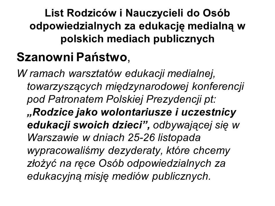 List Rodziców i Nauczycieli do Osób odpowiedzialnych za edukację medialną w polskich mediach publicznych