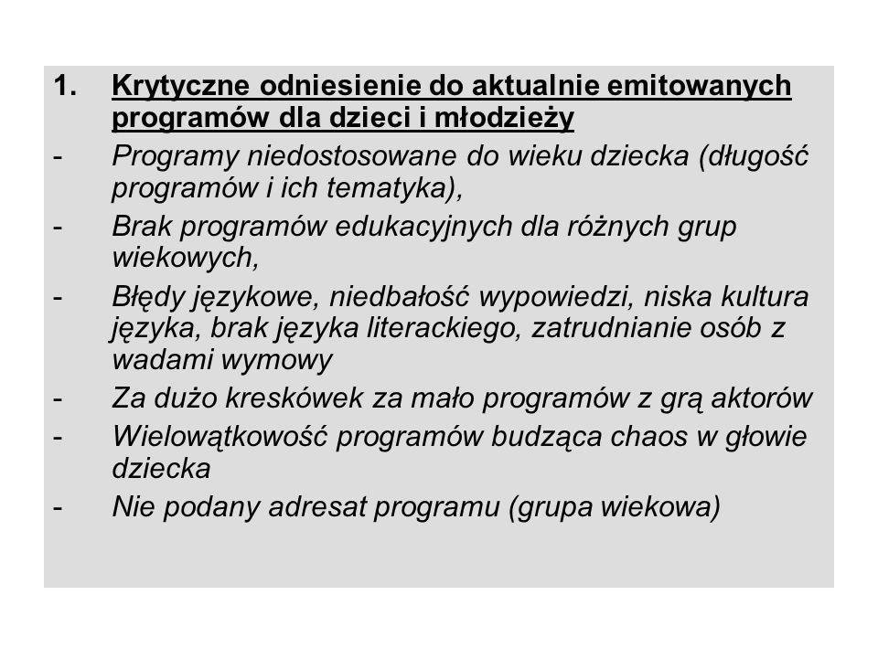 Krytyczne odniesienie do aktualnie emitowanych programów dla dzieci i młodzieży