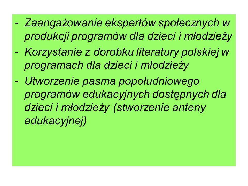 Zaangażowanie ekspertów społecznych w produkcji programów dla dzieci i młodzieży