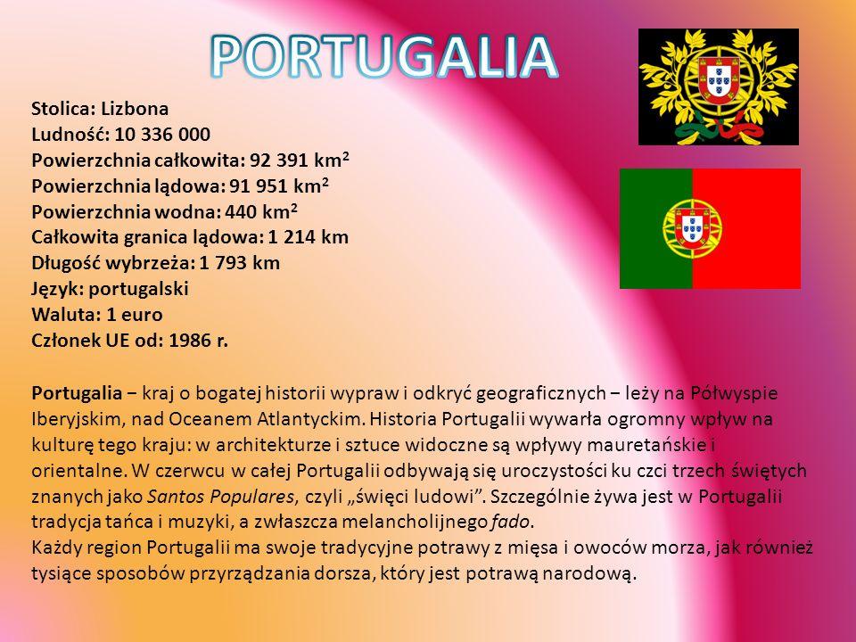 PORTUGALIA Stolica: Lizbona Ludność: 10 336 000