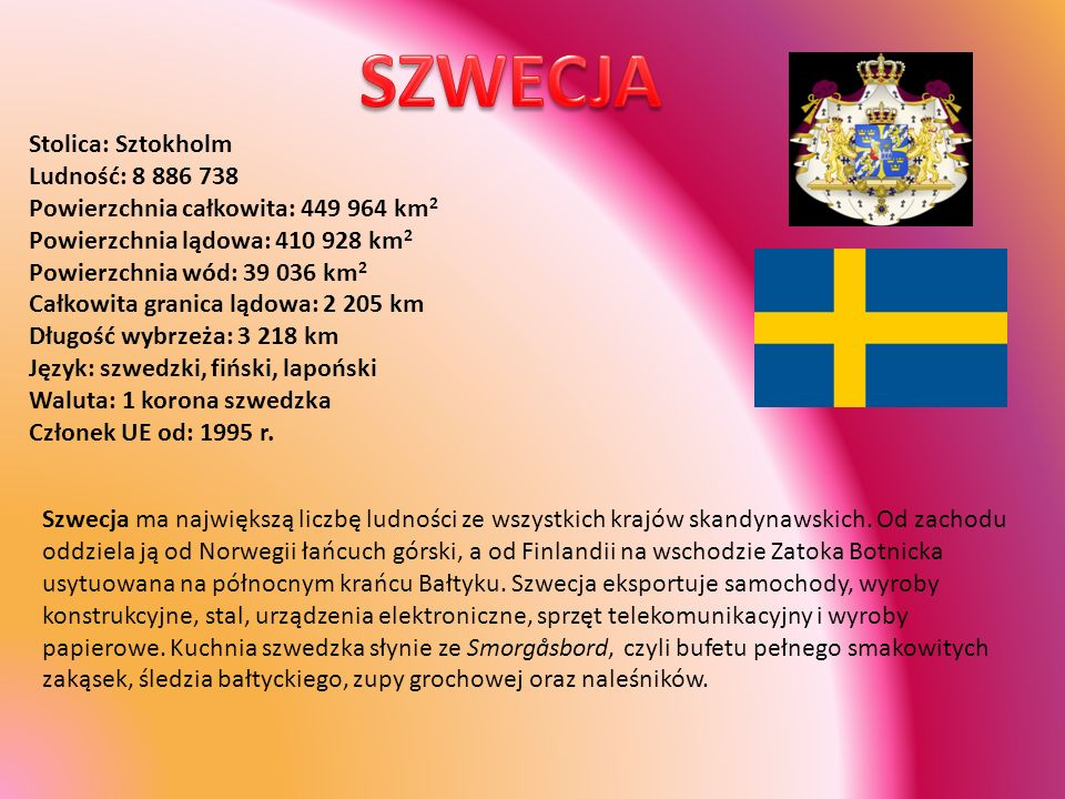 SZWECJA Stolica: Sztokholm Ludność: 8 886 738