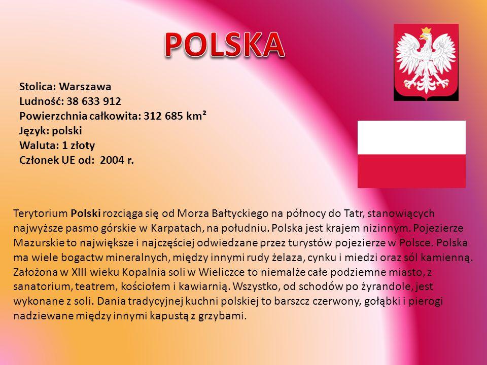 POLSKA Stolica: Warszawa Ludność: 38 633 912