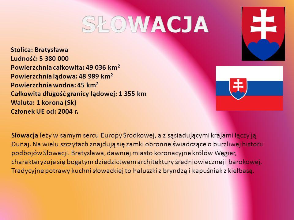 SŁOWACJA Stolica: Bratysława Ludność: 5 380 000