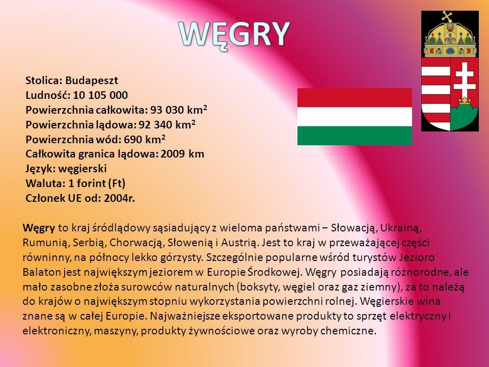 WĘGRY Stolica: Budapeszt Ludność: 10 105 000
