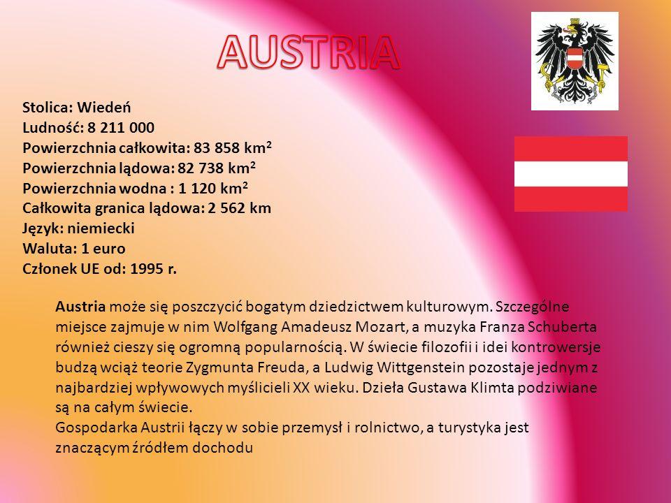 AUSTRIA Stolica: Wiedeń Ludność: 8 211 000