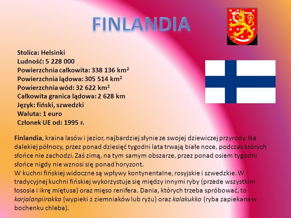 FINLANDIA Stolica: Helsinki Ludność: 5 228 000