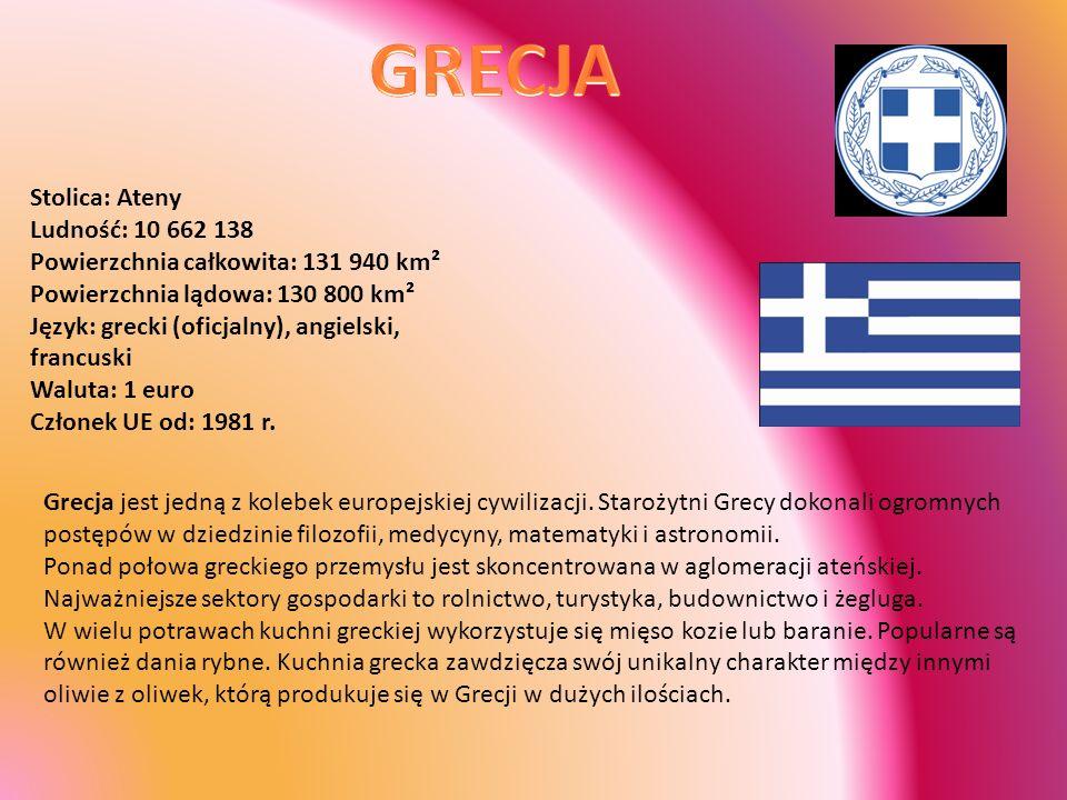 GRECJA Stolica: Ateny Ludność: 10 662 138