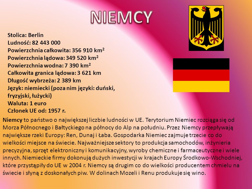 NIEMCY Stolica: Berlin Ludność: 82 443 000