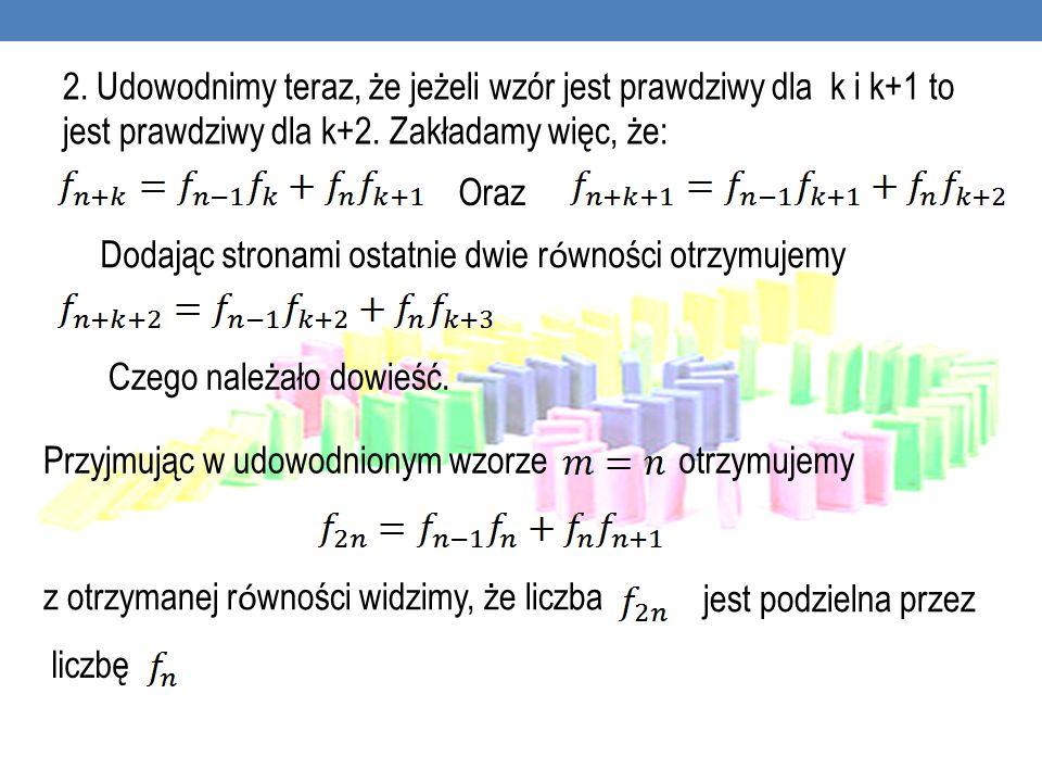 2. Udowodnimy teraz, że jeżeli wzór jest prawdziwy dla k i k+1 to jest prawdziwy dla k+2. Zakładamy więc, że: