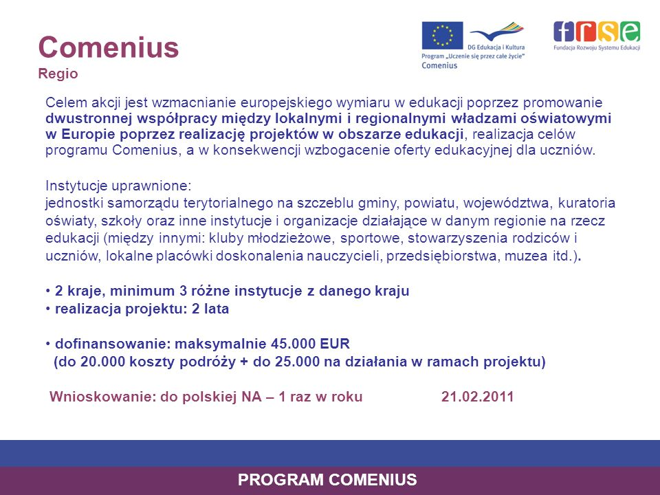 Comenius Regio PROGRAM COMENIUS