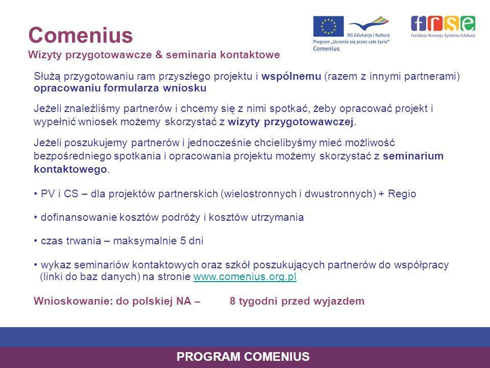 Comenius Wizyty przygotowawcze & seminaria kontaktowe