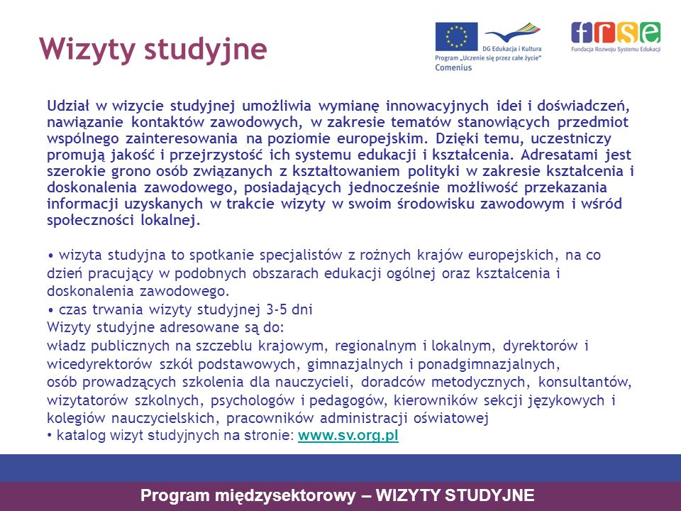 Program międzysektorowy – WIZYTY STUDYJNE