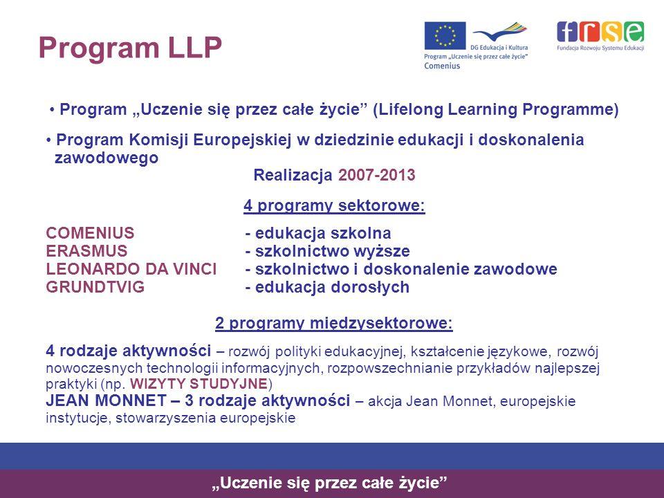 """Program LLP Program """"Uczenie się przez całe życie (Lifelong Learning Programme) Program Komisji Europejskiej w dziedzinie edukacji i doskonalenia."""