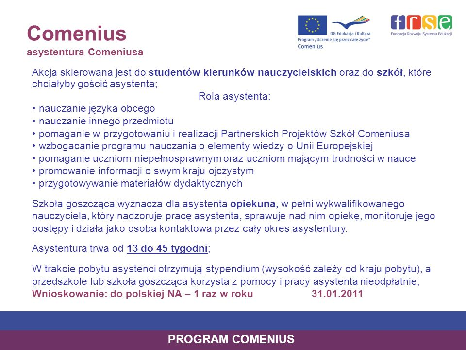 Comenius asystentura Comeniusa