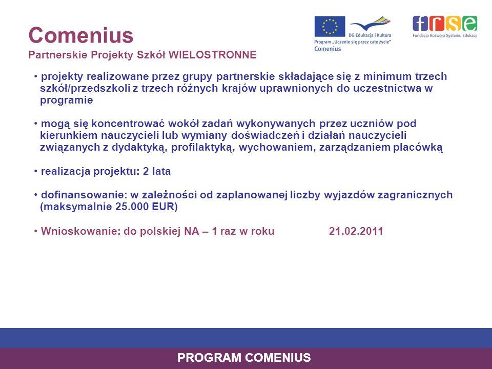 Comenius Partnerskie Projekty Szkół WIELOSTRONNE