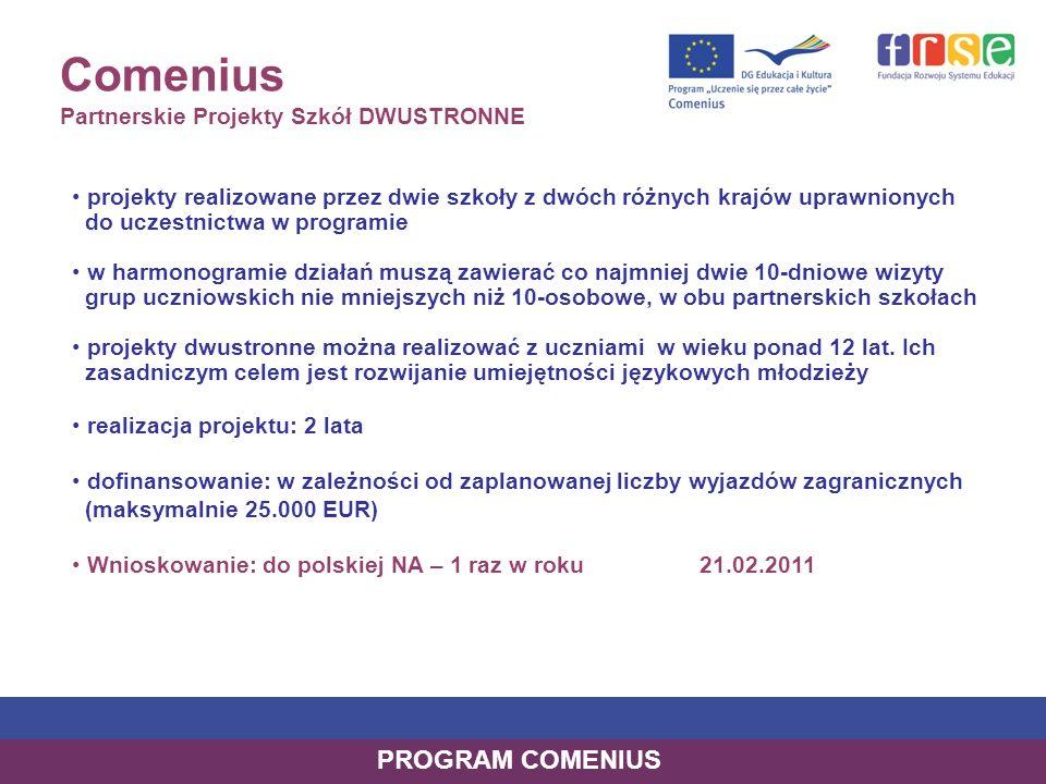 Comenius Partnerskie Projekty Szkół DWUSTRONNE