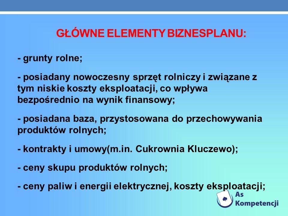 GŁÓWNE ELEMENTY BIZNESPLANU: