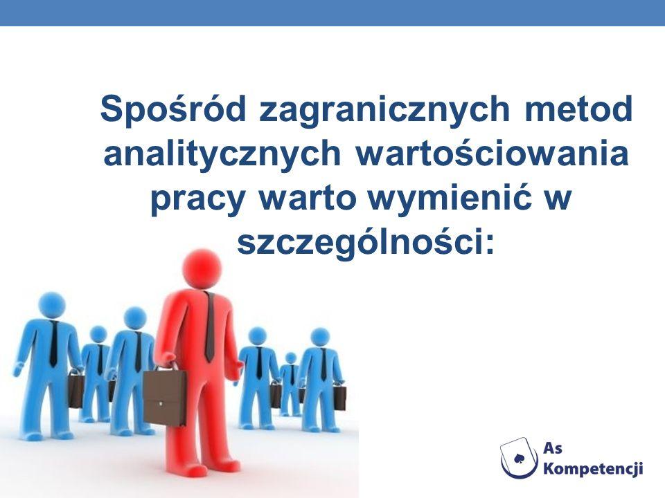 Spośród zagranicznych metod analitycznych wartościowania pracy warto wymienić w szczególności: