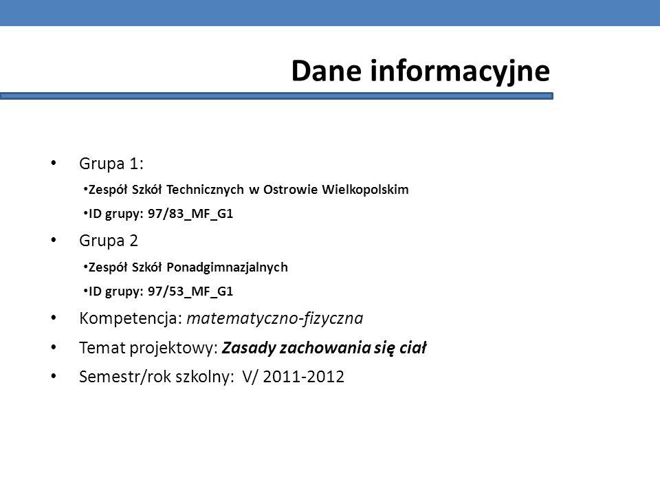 Dane informacyjne Grupa 1: Grupa 2 Kompetencja: matematyczno-fizyczna