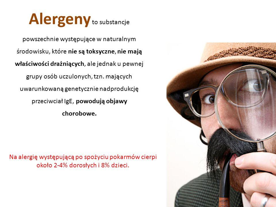 Alergeny to substancje powszechnie występujące w naturalnym środowisku, które nie są toksyczne, nie mają właściwości drażniących, ale jednak u pewnej grupy osób uczulonych, tzn. mających uwarunkowaną genetycznie nadprodukcję przeciwciał IgE, powodują objawy chorobowe.