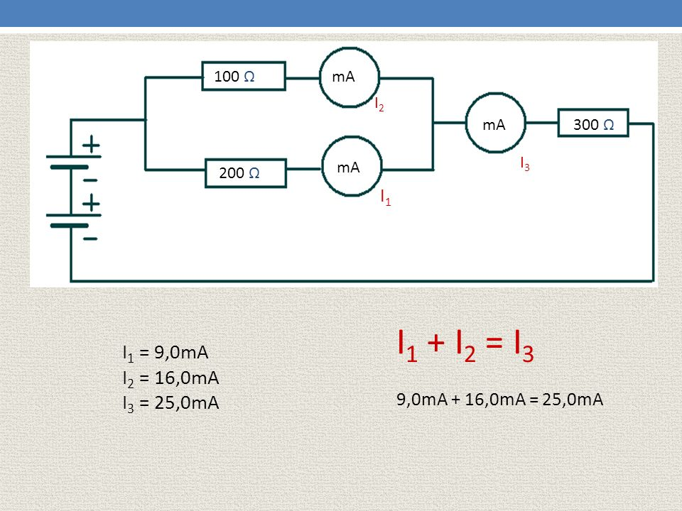100 Ω mA. I2. mA. 300 Ω. I3. mA. 200 Ω. I1. I1 + I2 = I3. I1 = 9,0mA. I2 = 16,0mA. I3 = 25,0mA.