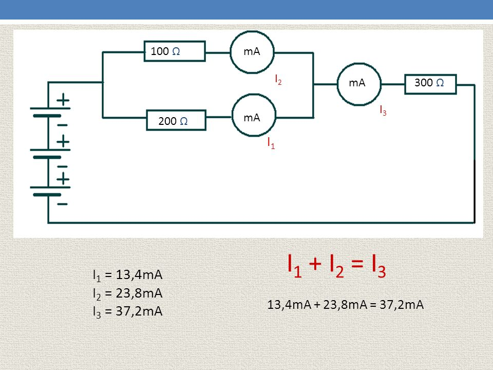 100 Ω mA. I2. mA. 300 Ω. I3. mA. 200 Ω. I1. I1 + I2 = I3. I1 = 13,4mA. I2 = 23,8mA. I3 = 37,2mA.