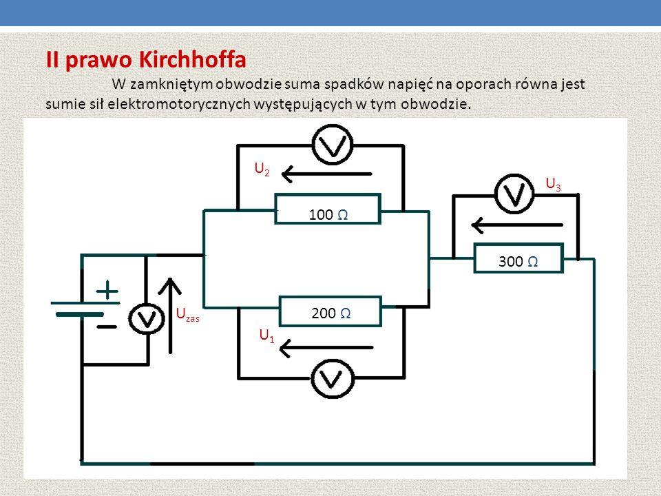 II prawo Kirchhoffa W zamkniętym obwodzie suma spadków napięć na oporach równa jest sumie sił elektromotorycznych występujących w tym obwodzie.