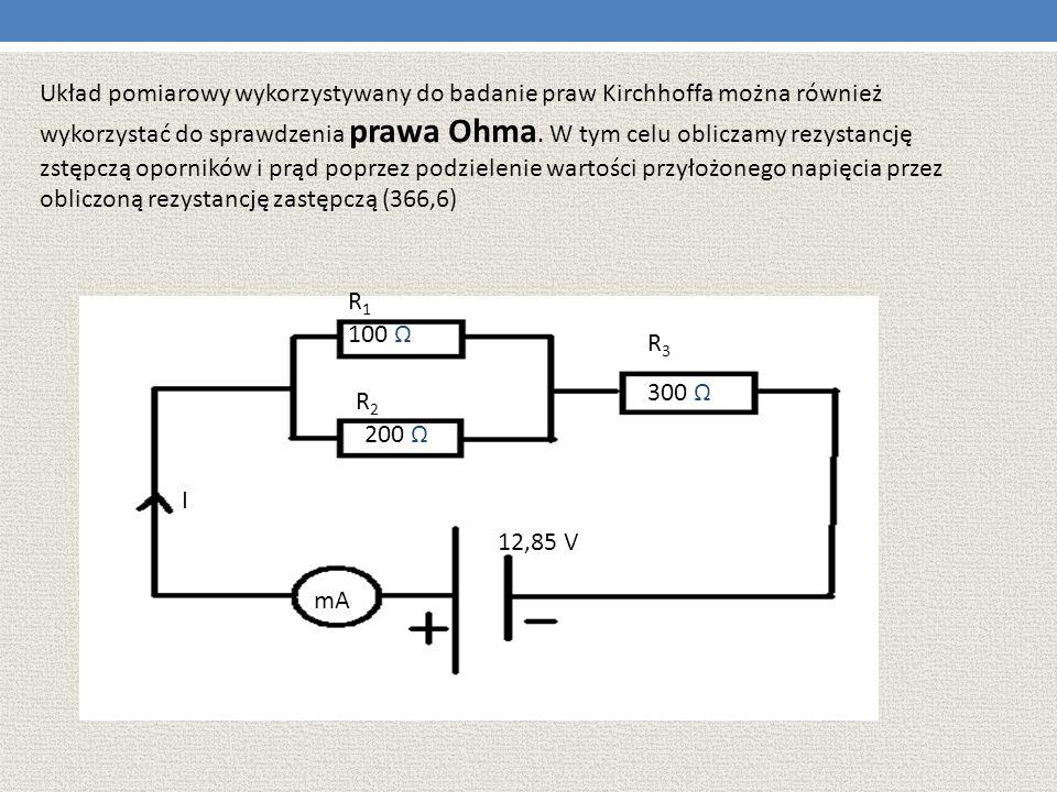 Układ pomiarowy wykorzystywany do badanie praw Kirchhoffa można również wykorzystać do sprawdzenia prawa Ohma. W tym celu obliczamy rezystancję zstępczą oporników i prąd poprzez podzielenie wartości przyłożonego napięcia przez obliczoną rezystancję zastępczą (366,6)