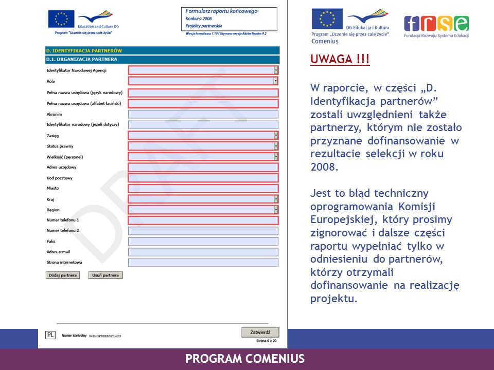 UWAGA !!! PROGRAM COMENIUS