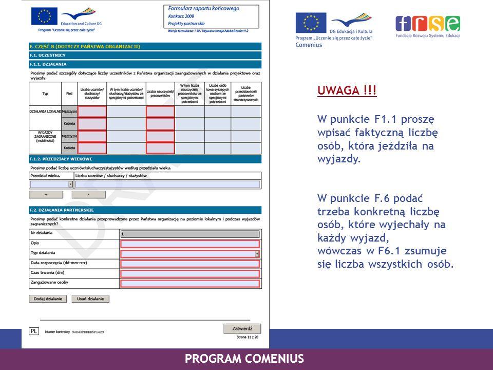 UWAGA !!! PROGRAM COMENIUS