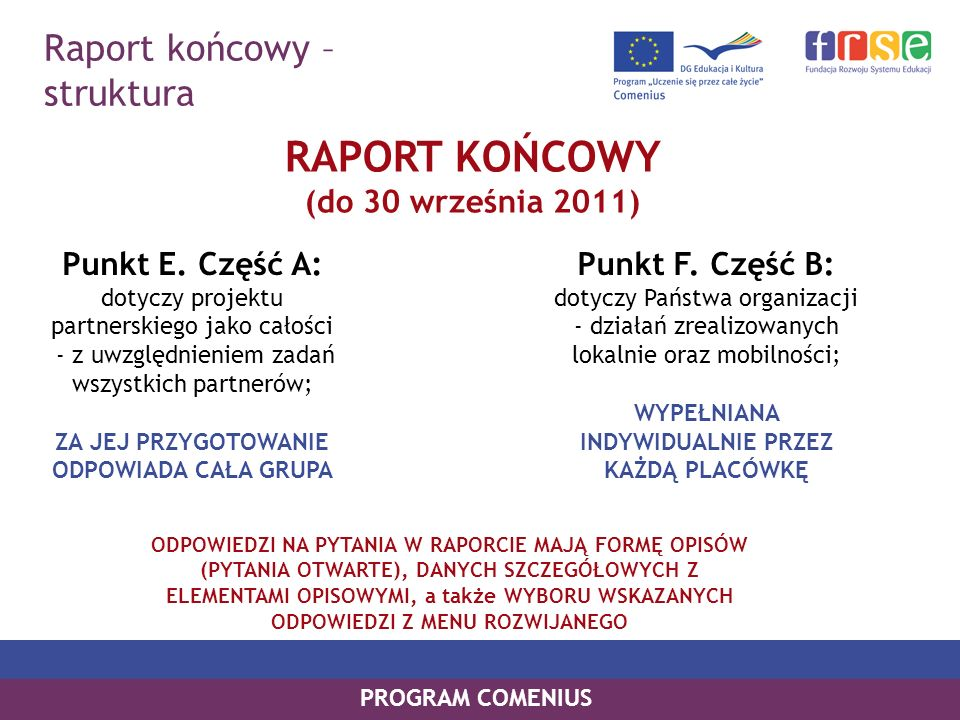 RAPORT KOŃCOWY Raport końcowy – struktura (do 30 września 2011)