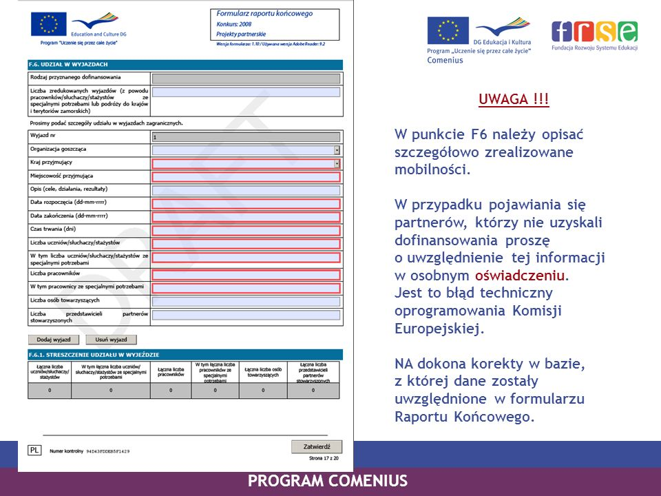 PROGRAM COMENIUS UWAGA !!!