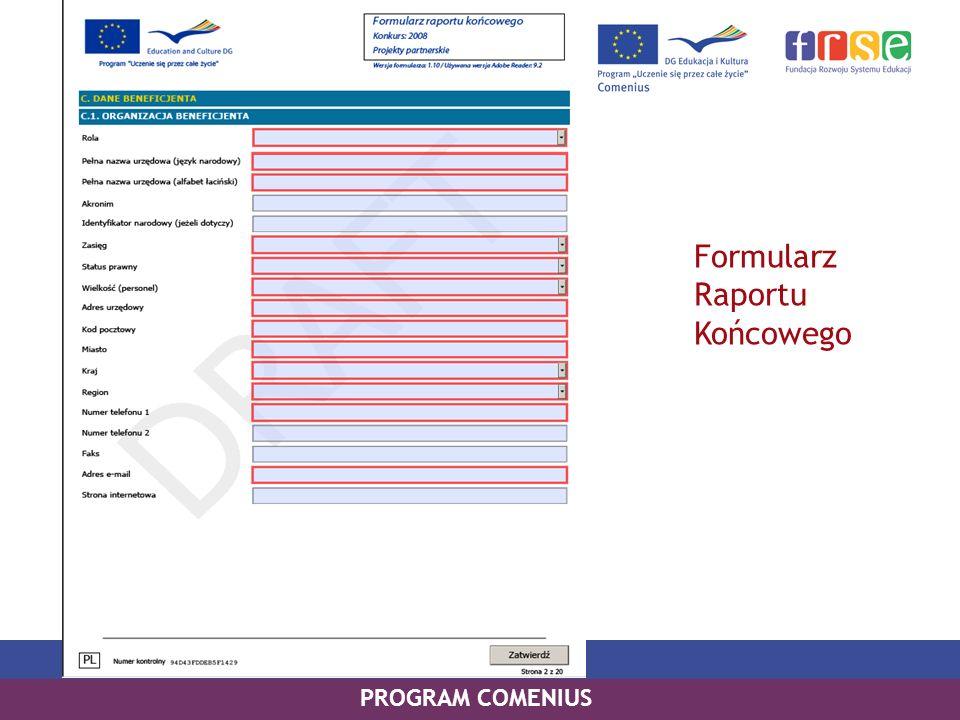 Formularz Raportu Końcowego PROGRAM COMENIUS