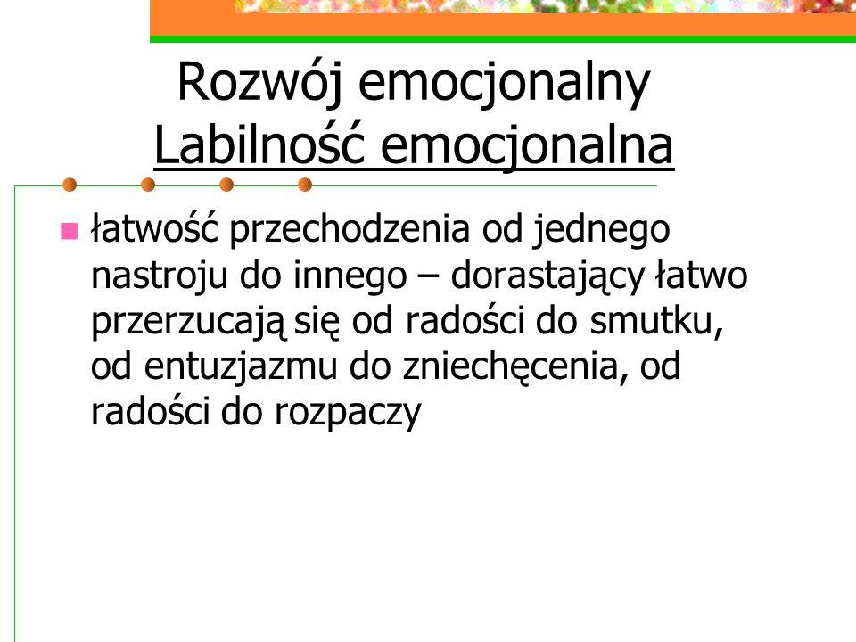 Rozwój emocjonalny Labilność emocjonalna