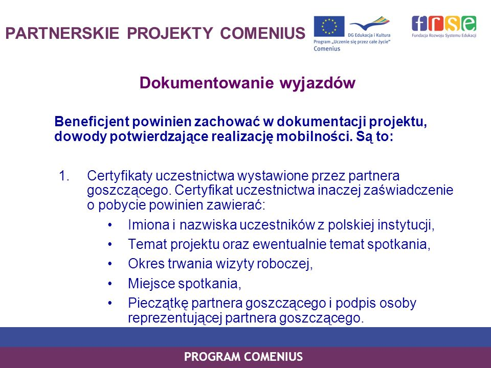 PARTNERSKIE PROJEKTY COMENIUS