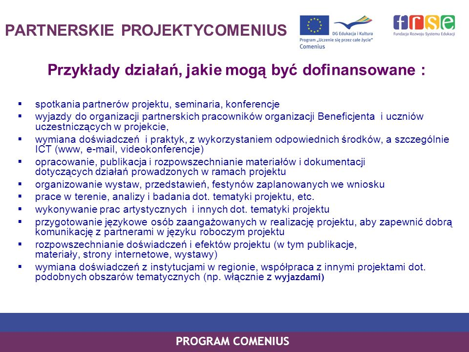 PARTNERSKIE PROJEKTYCOMENIUS