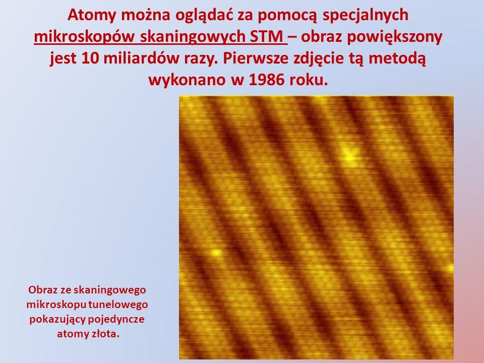 Obraz ze skaningowego mikroskopu tunelowego pokazujący pojedyncze