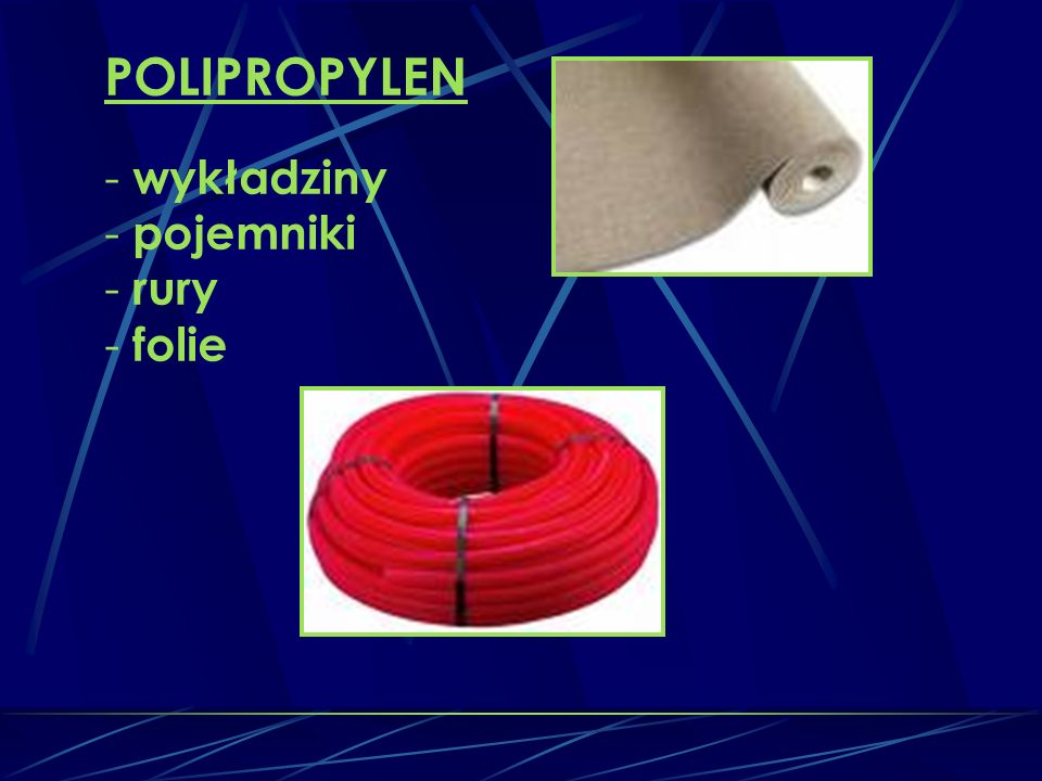 POLIPROPYLEN wykładziny pojemniki rury folie