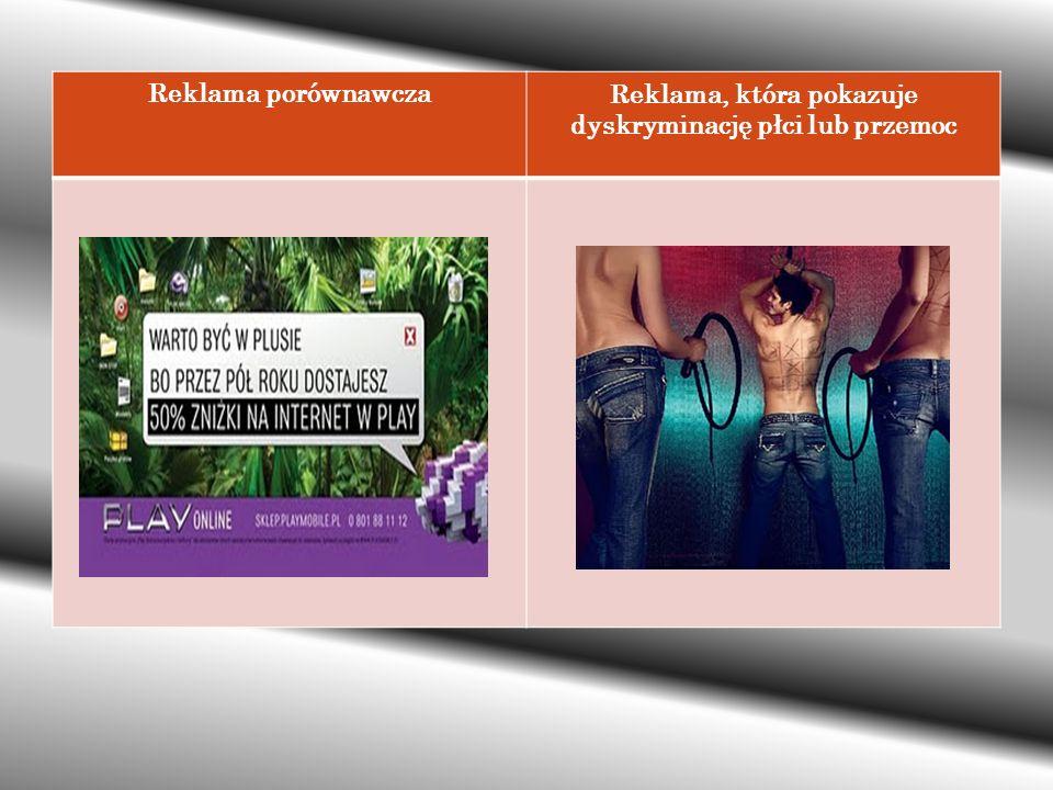 Reklama, która pokazuje dyskryminację płci lub przemoc