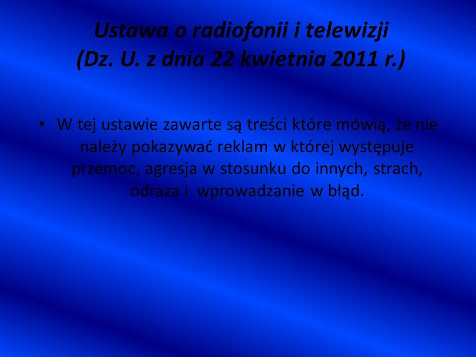Ustawa o radiofonii i telewizji (Dz. U. z dnia 22 kwietnia 2011 r.)