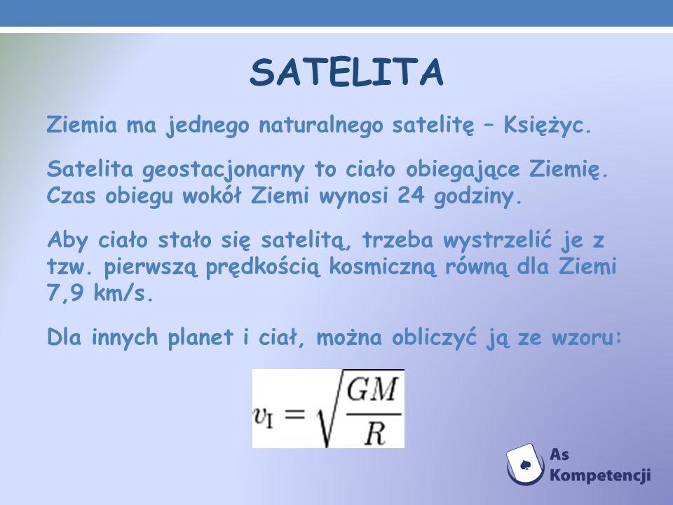 SATELITA Ziemia ma jednego naturalnego satelitę – Księżyc.