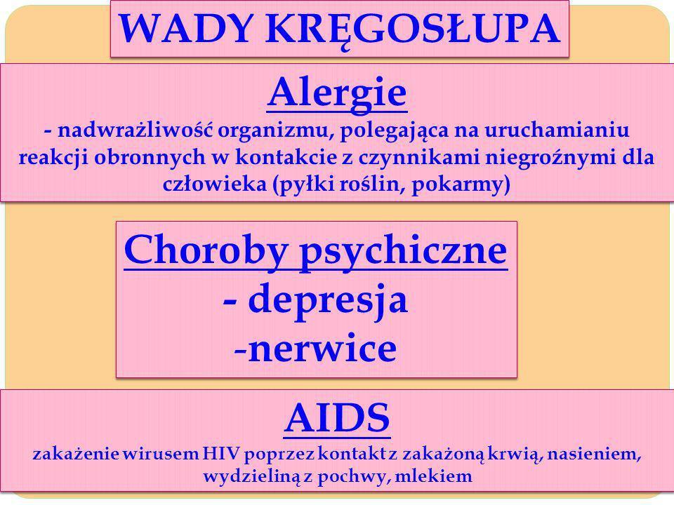 WADY KRĘGOSŁUPA Alergie Choroby psychiczne - depresja nerwice AIDS