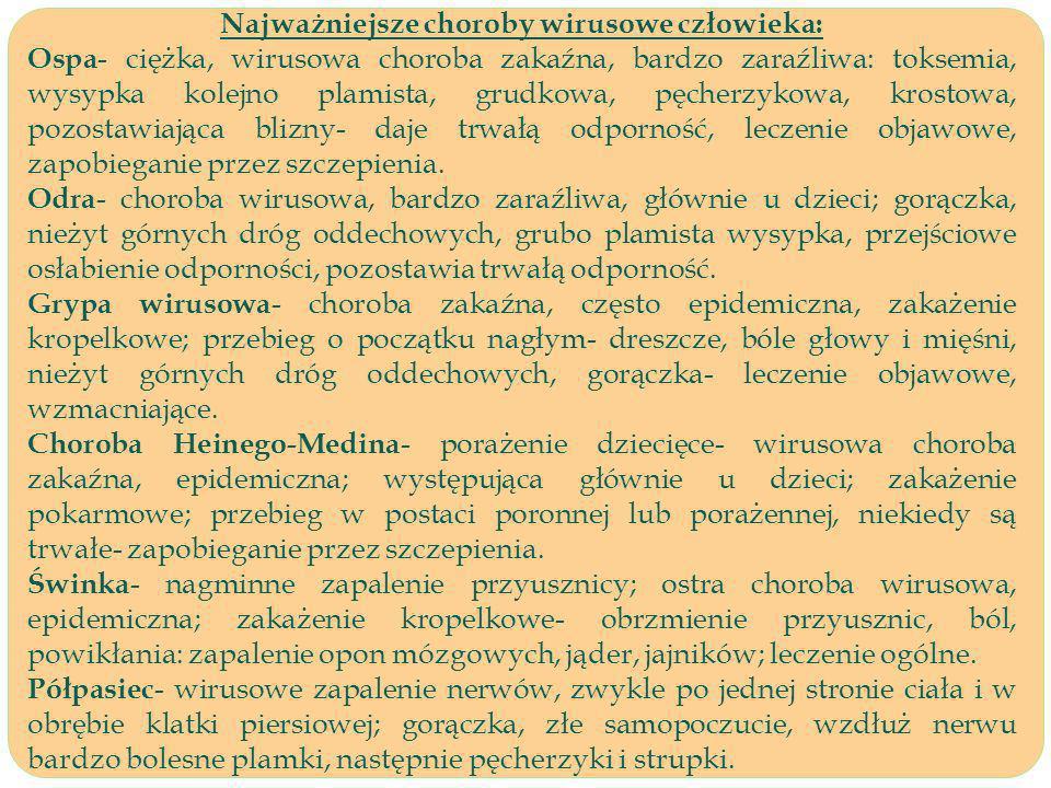 Najważniejsze choroby wirusowe człowieka: