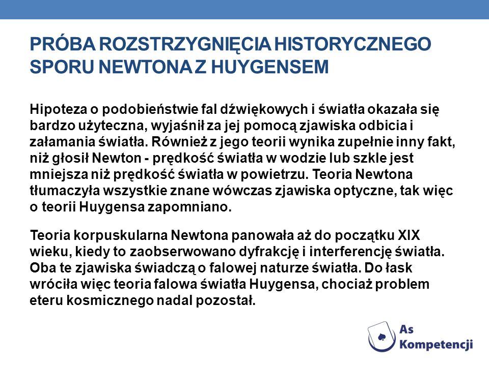 Próba rozstrzygnięcia historycznego sporu newtona z Huygensem