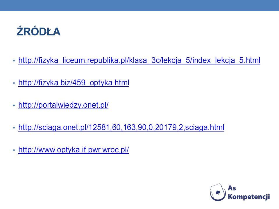 ŹRÓDŁA http://fizyka_liceum.republika.pl/klasa_3c/lekcja_5/index_lekcja_5.html. http://fizyka.biz/459_optyka.html.